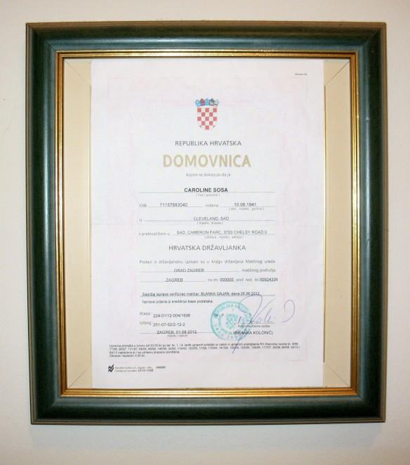 Croatian citizenship document