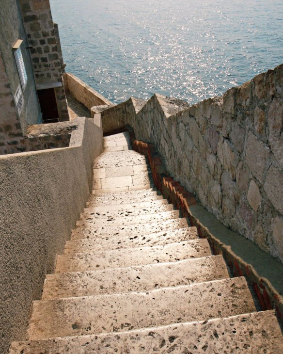 A few of the city wall steps going downward