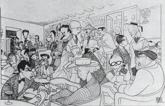 Harry's Bar & Grill, a caricature by Al Hirschfeld