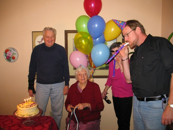Celebrating 100 years, my mother Tera, son Walt, neighbor Delores and grandson Bob