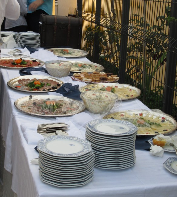 One of many tables of appetizers