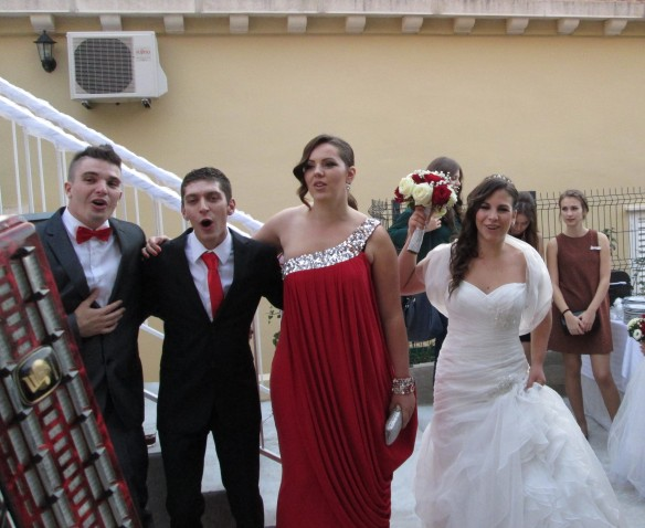 Bride, maid of honor, groom and best man